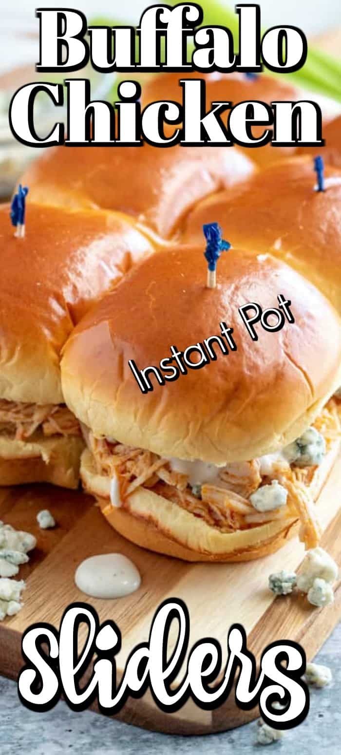 Buffalo Chicken Sliders (Instant Pot) are the best combination of melted butter and buffalo sauce mixed with chicken topped with blue cheese on a Hawaiian roll. Equally great for game day as they are any day!! #buffalochicken #sliders #IntstantPot