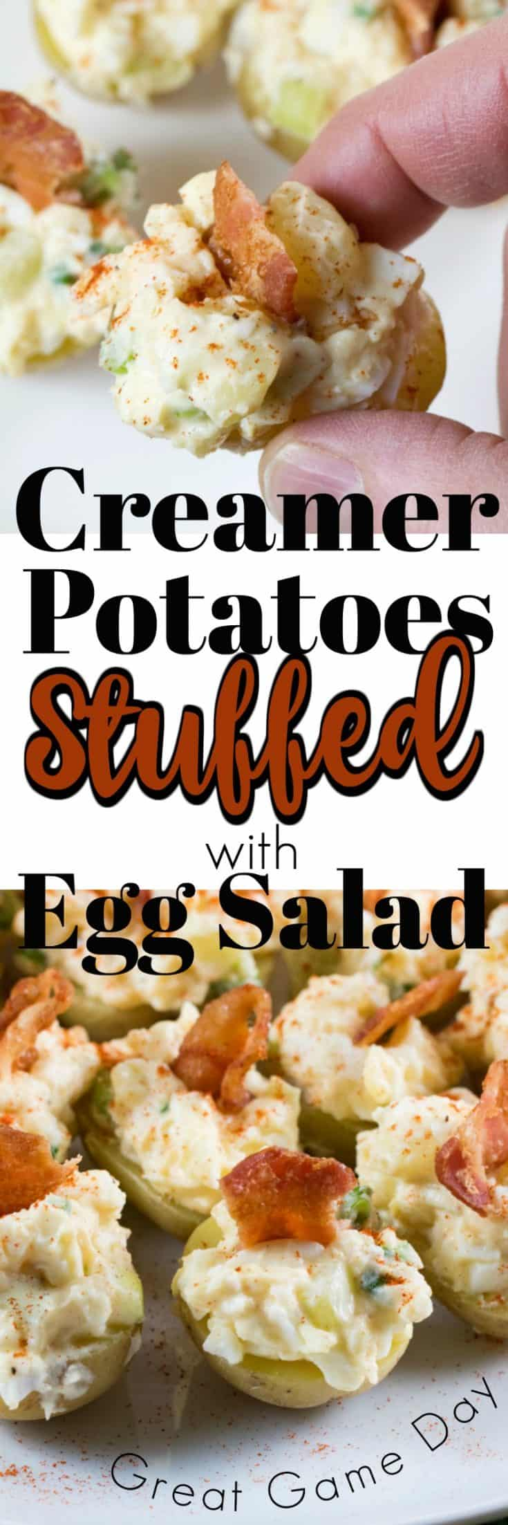 Creamer Potatoes Stuffed with Egg Salad are an amazing treat for Game Day or for anytime. They are easy to make and a classic that everyone will love!! #Creamerpotatoes #Littlepotatoes #eggsalad #appetizer