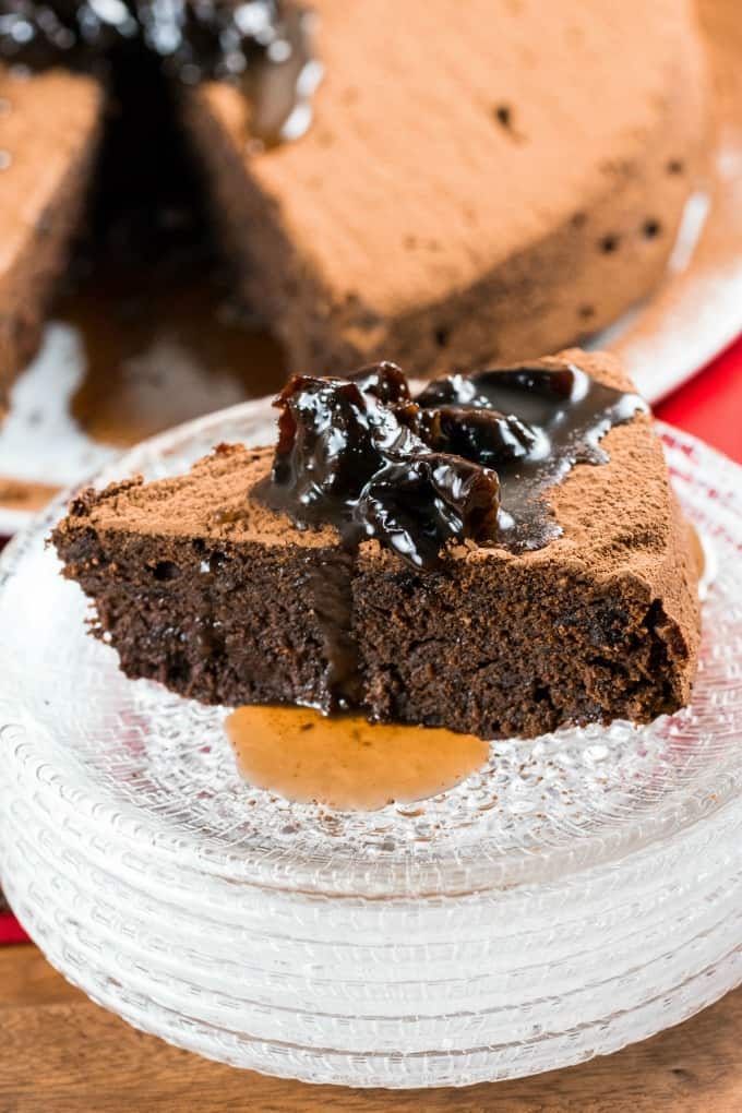 Chocolate Prune Cake on a plate