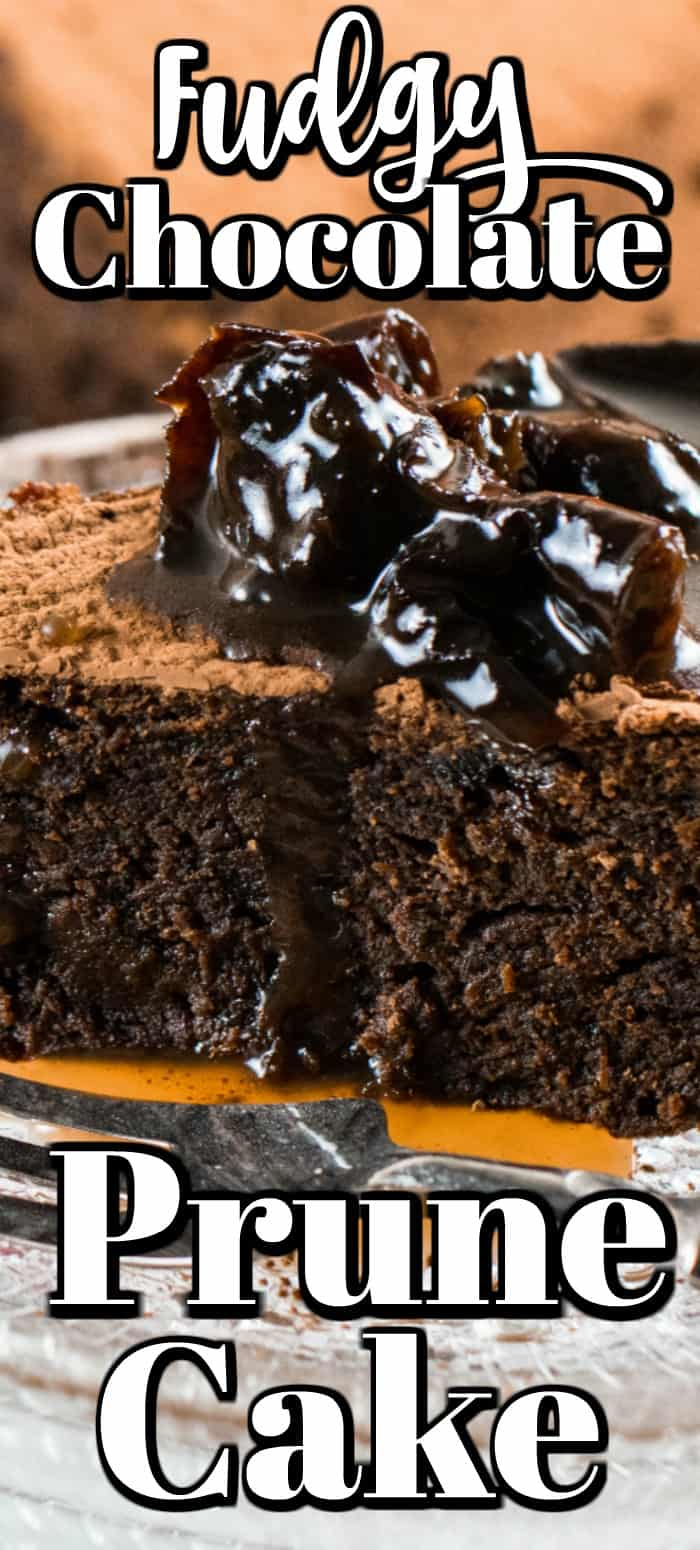 This Fudgy Chocolate Prune Cake is a perfect cake recipe for Valentine's Day or at anytime to enjoy the goodness of prunes. The prunes make it sweet, rich and moist! #prunecake #prune #chocolate