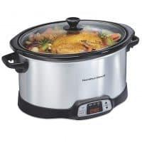 Hamilton Beach 8-Quart Programmable Slow Cooker With Digital Timer, Dishwasher-Safe Crock & Lid, Silver (33480)