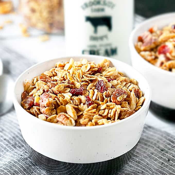Close up of homemade granola in a bowl