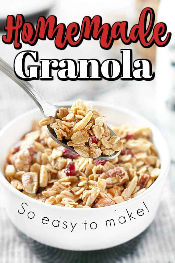 Sweetened with maple syrup, this easy Homemade Granola recipe is a delicious, crunchy treat. #granola #homemade