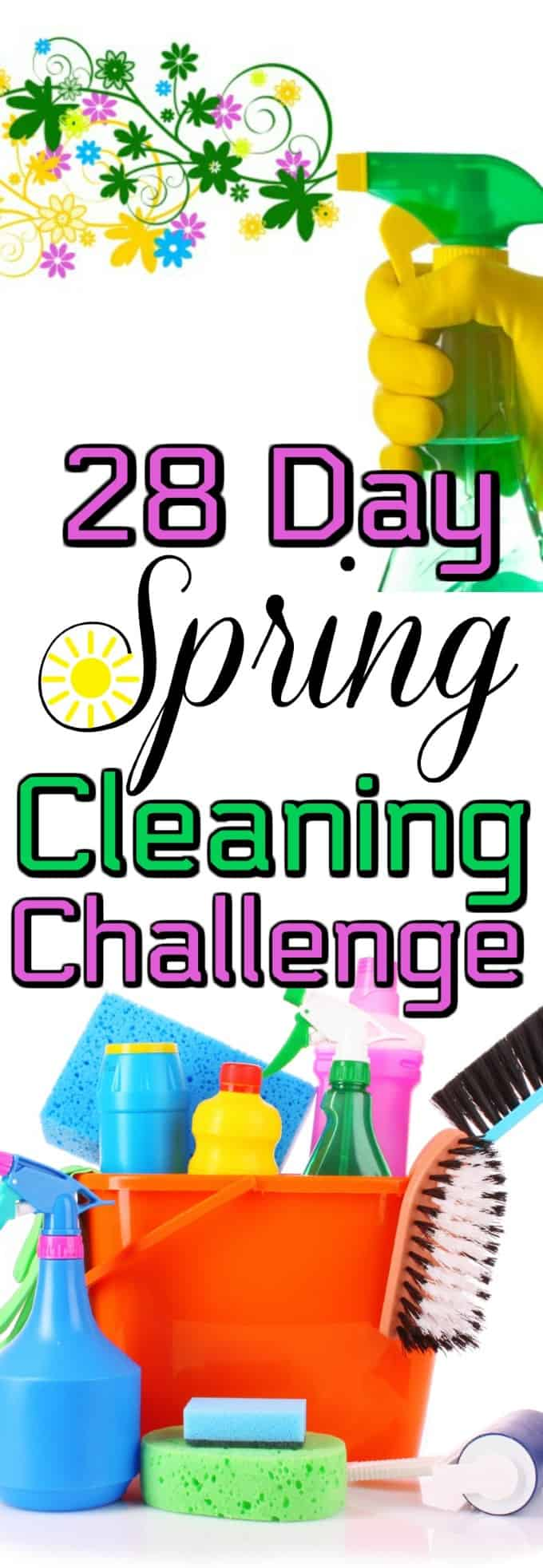 28 Day Spring Cleaning Challenge has a free printable to help with your spring cleaning checklist. Open the windows and let the deep cleaning start! #springcleaning #challenge