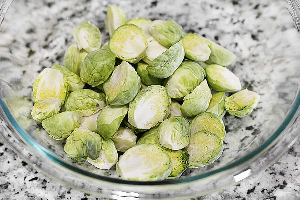 Raw Brussels Sprouts in Bowl