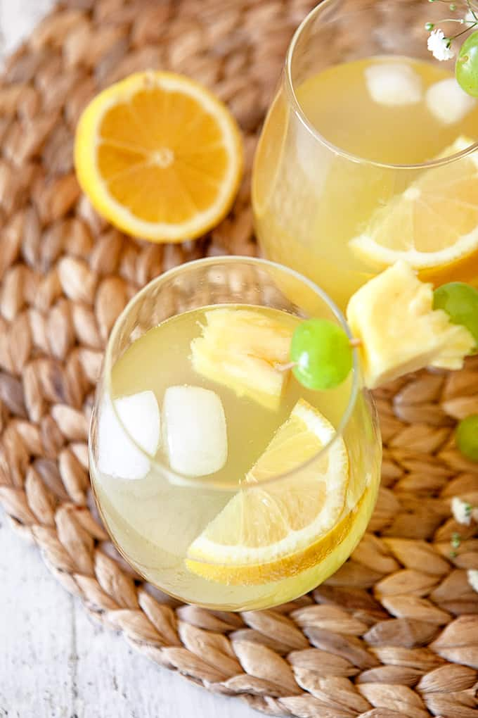 White Grape and Pineapple Spritzer, overhead shot