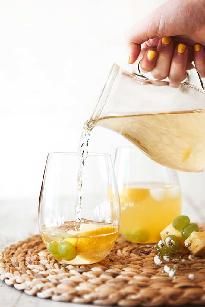 Making a White Grape and Pineapple Spritzer