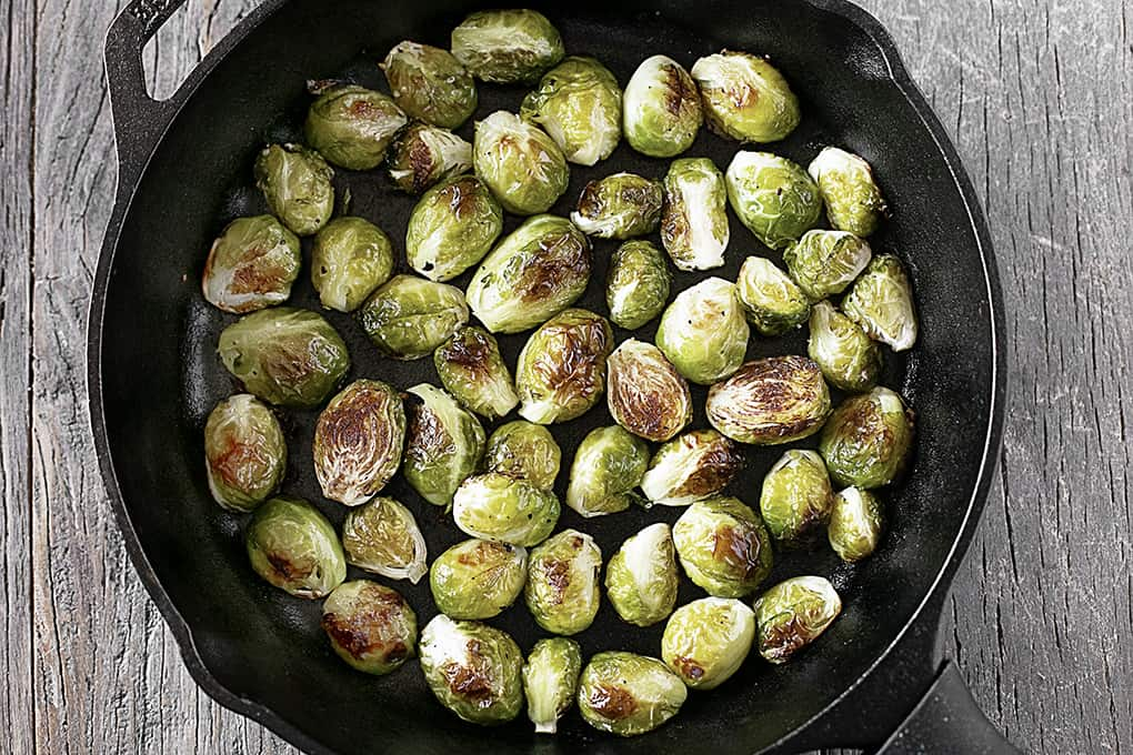Roasted Brussels Sprouts in Skillet