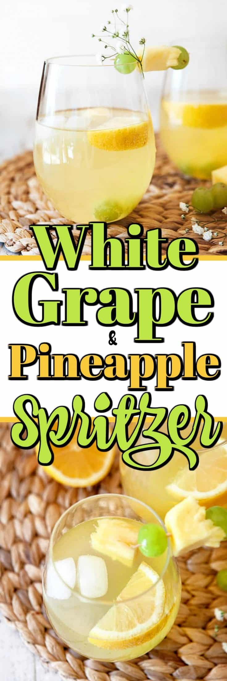 This White Grape and Pineapple Spritzer is a deliciously simple mocktail drink for adults. Perfect for spring and summer entertaining! #mocktail #spritzer
