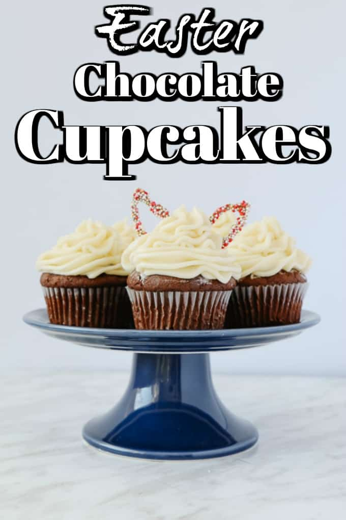 We love this recipe for chocolate cupcake recipe with amazing chocolate flavor and moist cake topped with a velvety Swiss vanilla buttercream will be the showstopper of your Easter table. #Easter #cupcakes