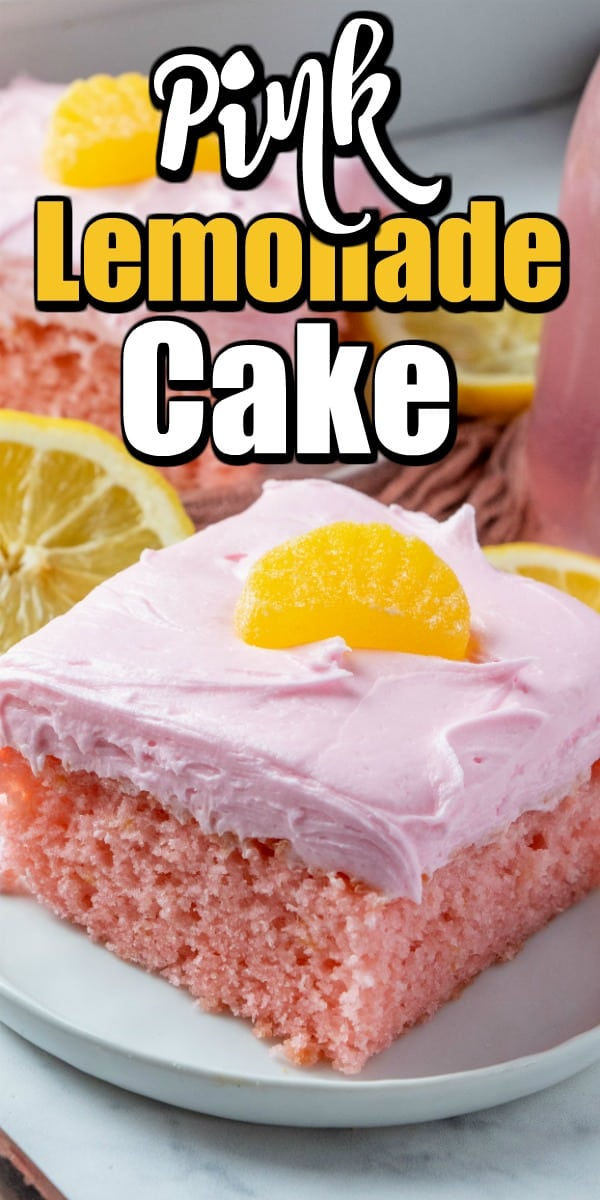 This Pink Lemonade Cake recipe is simply made with a cake mix and pink lemonade concentrate. It is as pretty as it is delicious. #pinklemonade #pinklemonadecake #cake