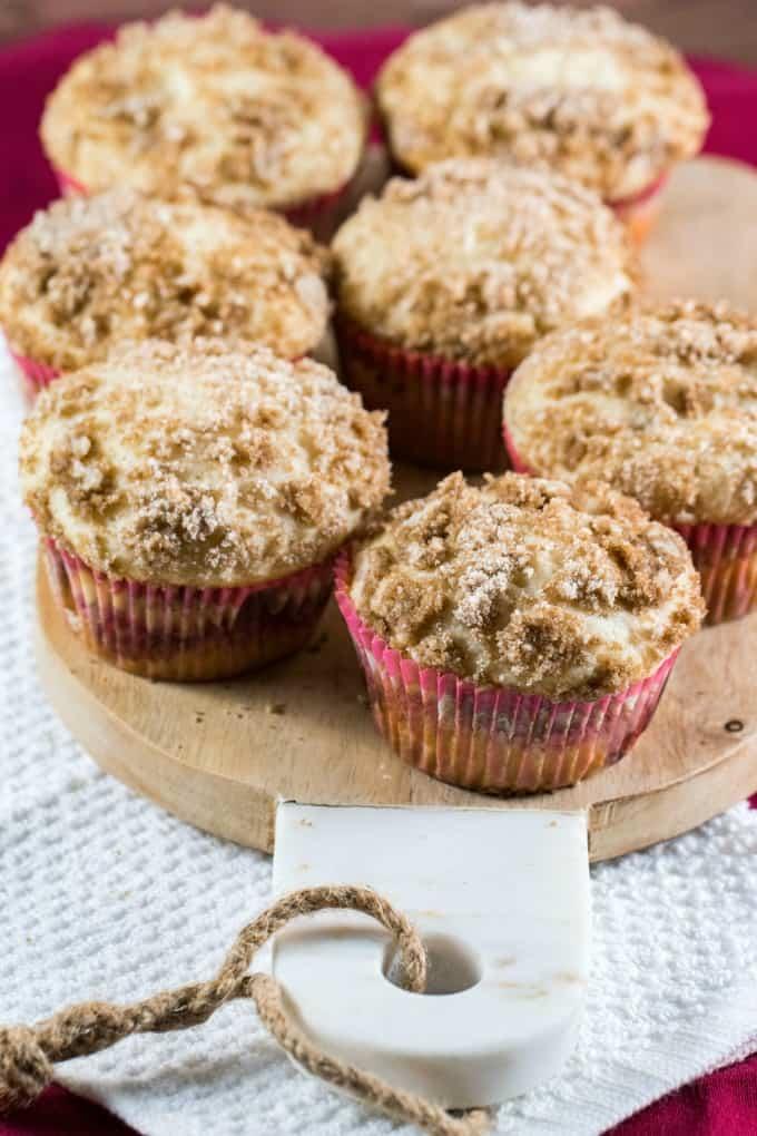 Rhubarb Muffins on a board