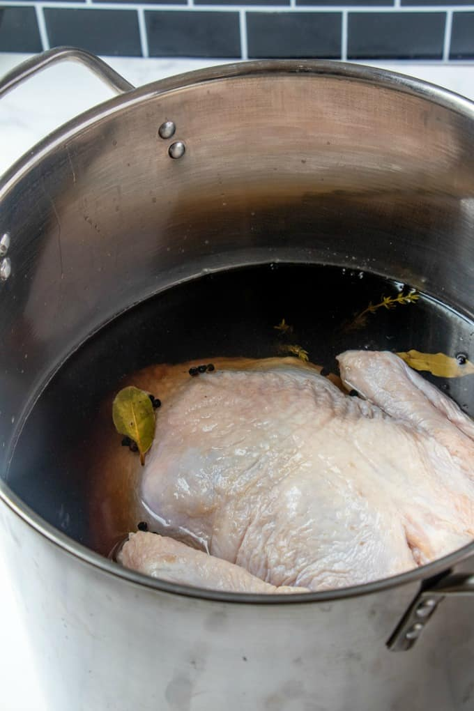 Turkey in a pot in brine
