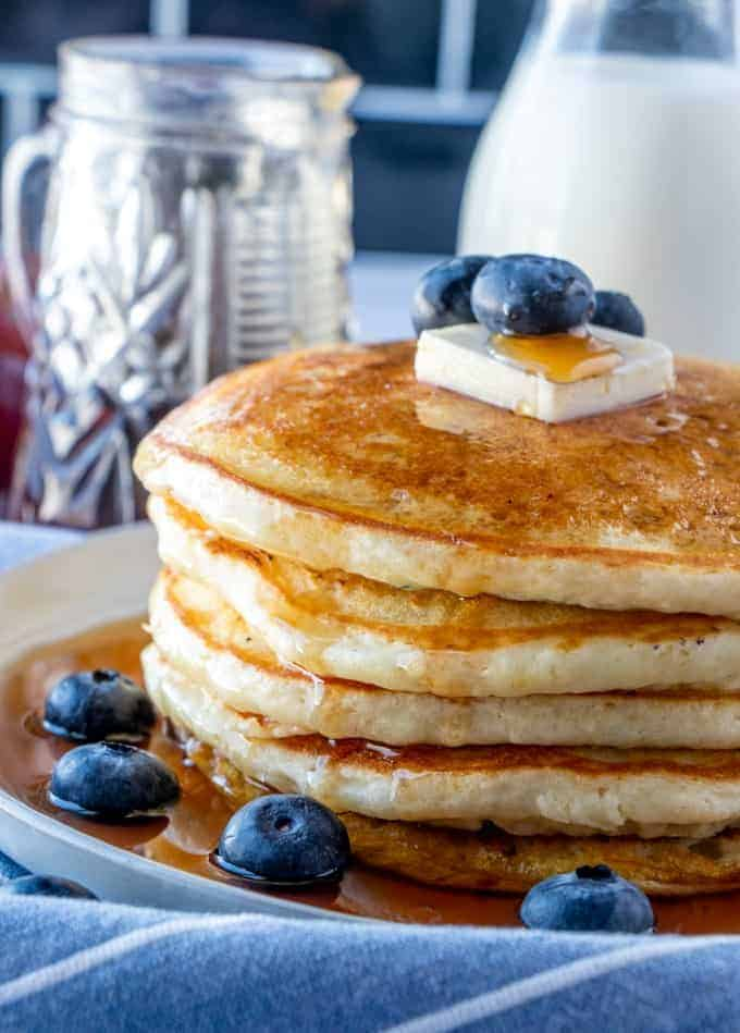 Stack of perfect Blueberry Buttermilk Pancakes