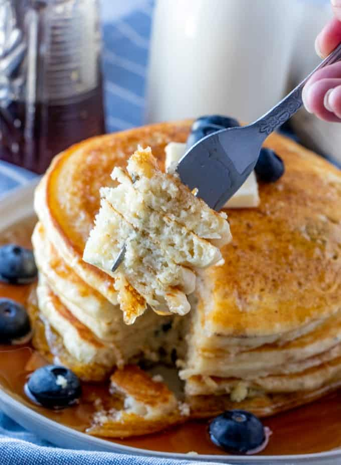 Forkful of Blueberry Buttermilk Pancakes