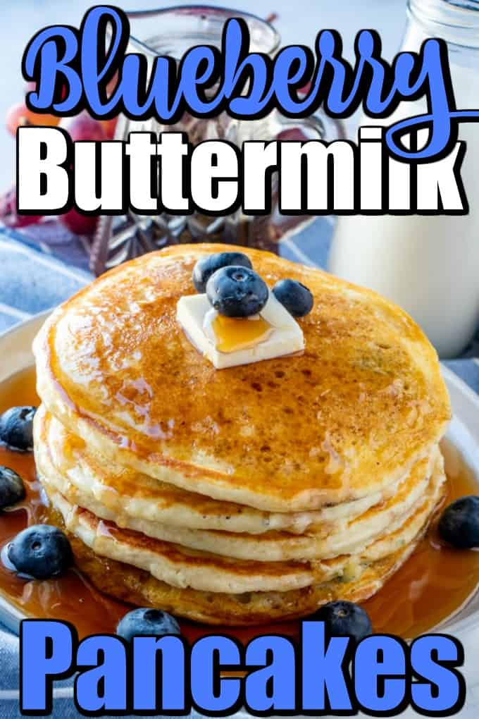 Loads of fluffy pancakes with fresh blueberries all cooked up to a golden brown and doused with maple syrup will make your family very happy!! #buttermilkpancakes #blueberrypancakes #pancakes