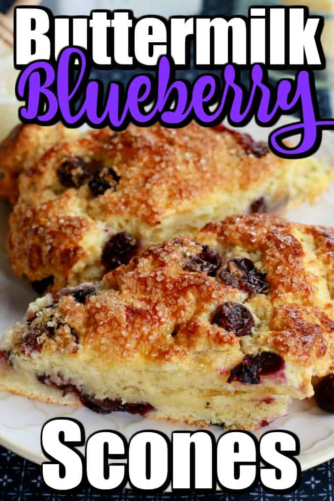 Golden baked to perfection, the Buttermilk Blueberry Scones recipe has a tender, flaky inside bursting with juicy blueberries. #scones #blueberryscones