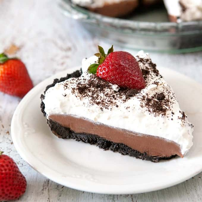 Slice of Chocolate Pudding Pie on a plate