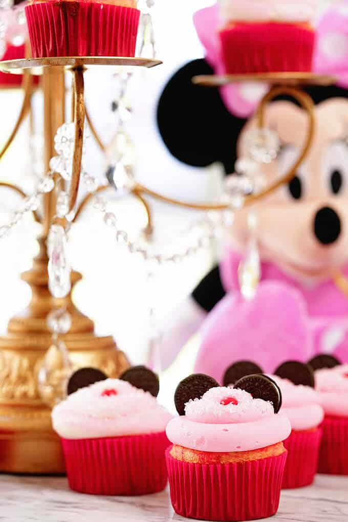 Minnie mouse cupcakes on a marble top