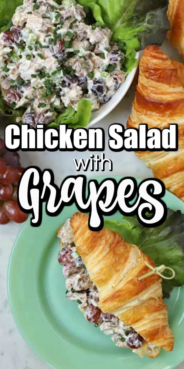 This simple recipe for Chicken Salad with Grapes can't be beat for a delicious easy salad for sandwiches or on its own. Enjoy a great combination of chicken, grapes, and celery to make a refreshing meal. #chickensalad #grapes #sandwiches