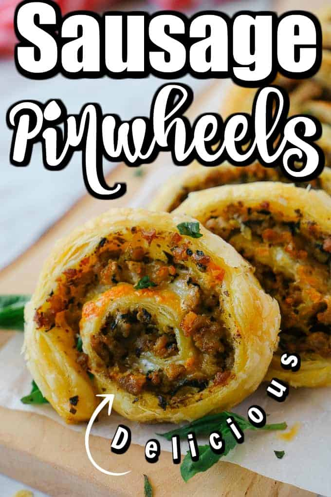 These Delicious Sausage Pinwheels are made in a buttery puff pastry filled with Italian sausage meat, spinach and cheese, and a flavor of pesto. Perfect for a snack, appetizer, added to a lunchbox and more!! #sausagepinwheels #pinwheels