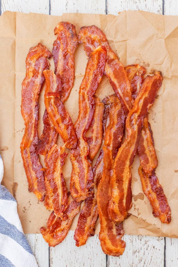 Overhead of bacon on a paper bag