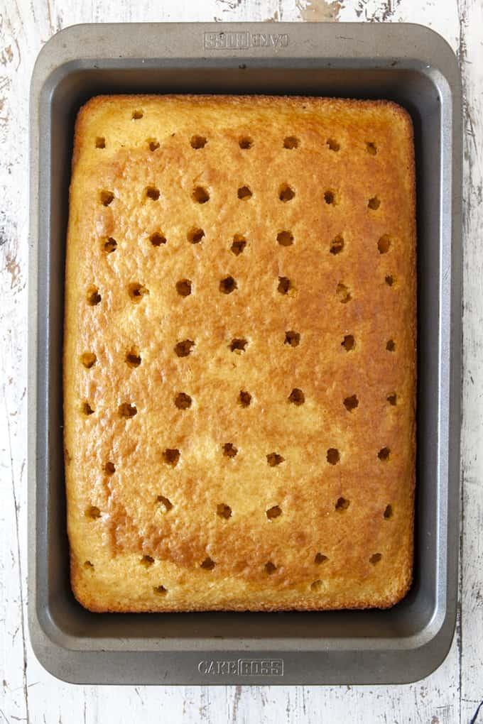 Holes in a poke cake