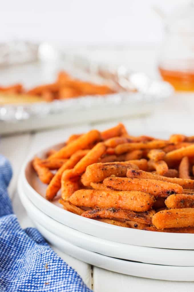 Honey Glazed Dijon Roasted Carrots on a plate!
