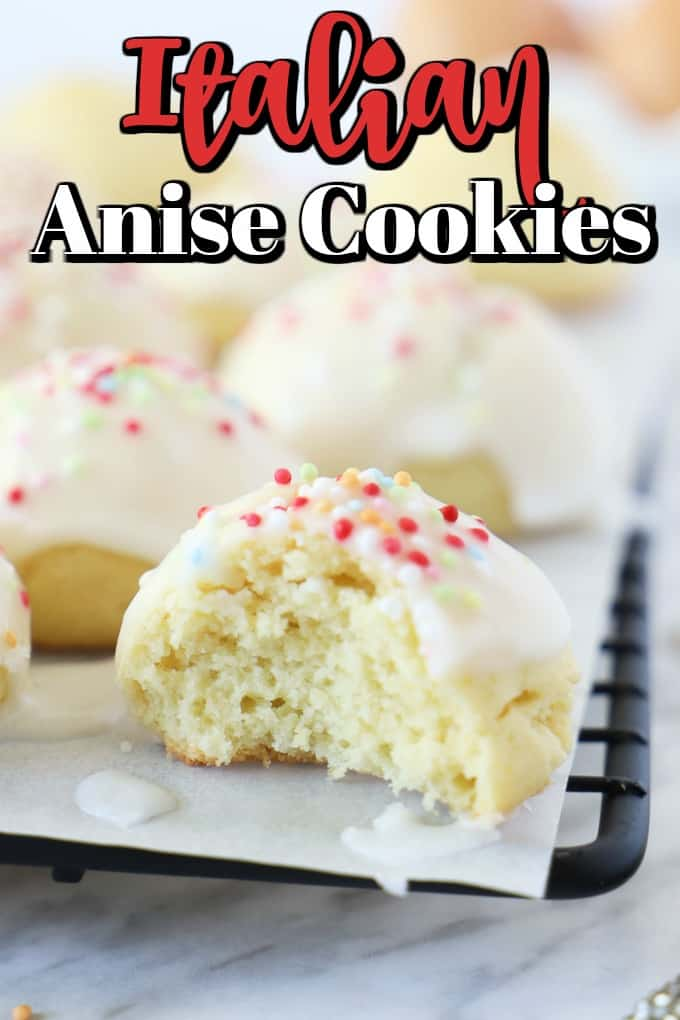 These cute little Italian Anise Cookies are a traditional recipe with a glaze topped with nonpareils. Prepared with simple ingredients from the pantry, these little balls flavoured with anise will become your favorite. #anisecookies #anisette #cookies