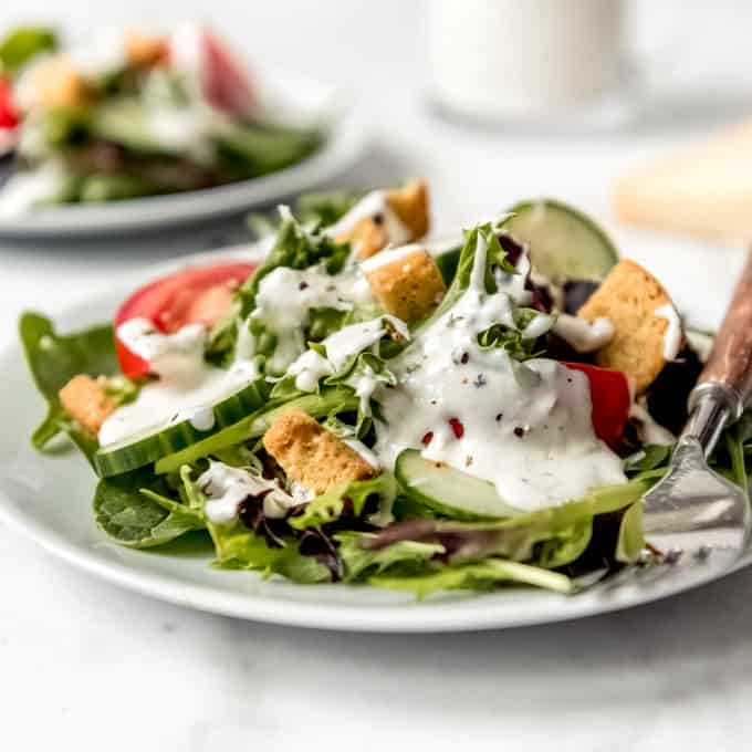 Plate of salad with Parmesan Peppercorn Dressing