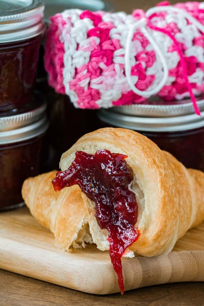 A croissant with jam