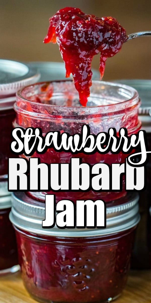This amazing Strawberry Rhubarb Jam is easy to make with 4 ingredients and doesn't need any pectin to thicken. The sweet strawberries pair gorgeously with the tart rhubarb. #jam #strawberryrhubarb