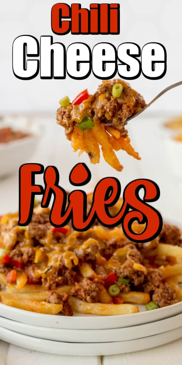 Fast homemade chili and cheese on top of crispy fries will have everyone asking to make these Chili Cheese Fries again and again. #chilicheesefries #chili #fries