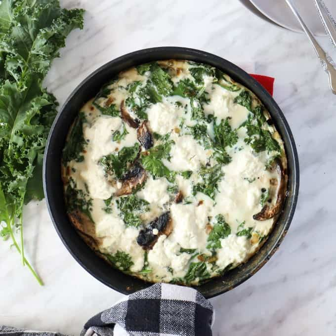 Overhead shot of an egg white frittata in a pan.