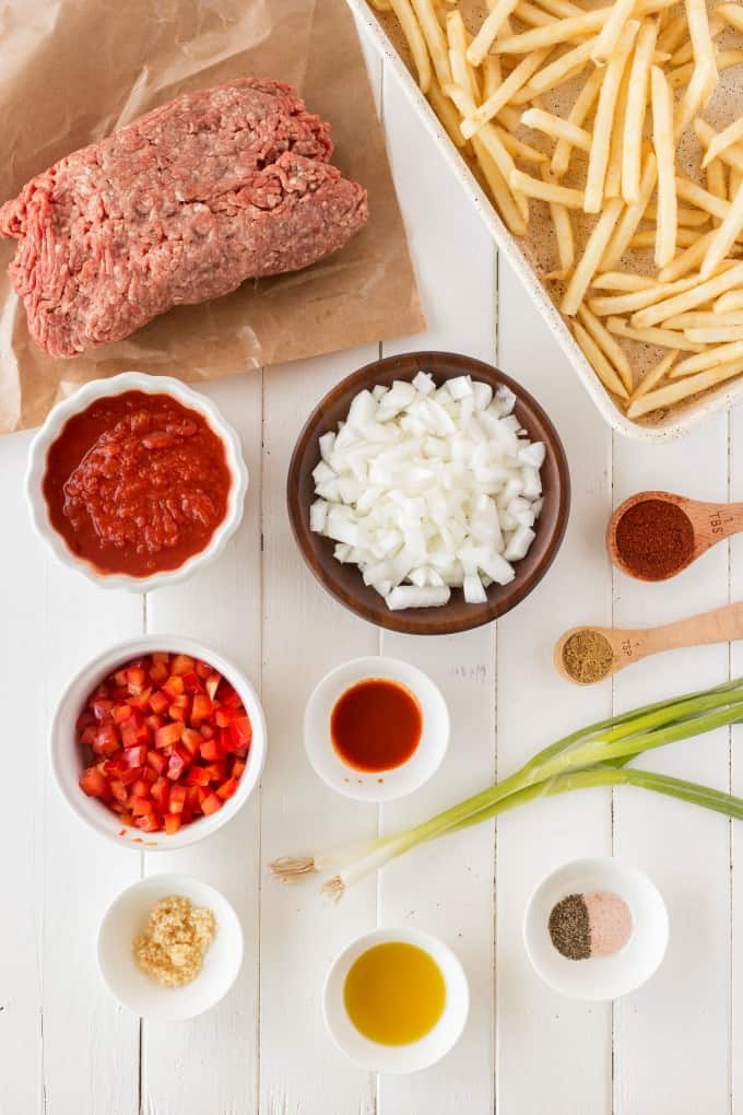 Ingredients for Chili Cheese Fries