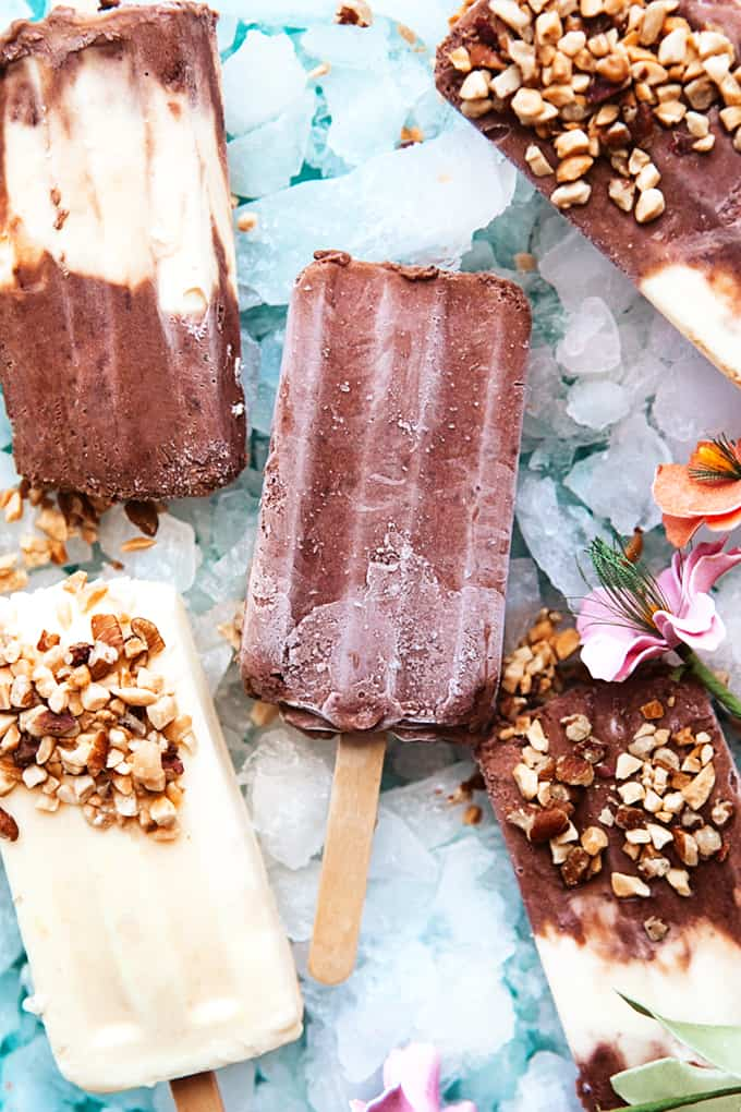 Vanilla and Chocolate Pudding Pops on Ice
