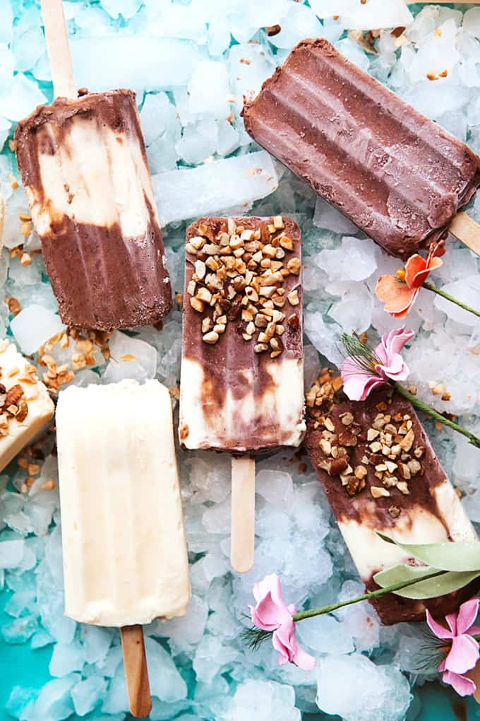 Homemade Pudding Pops on ice with nuts
