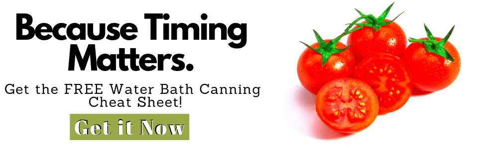 Water Bath Canning Cheat Sheet