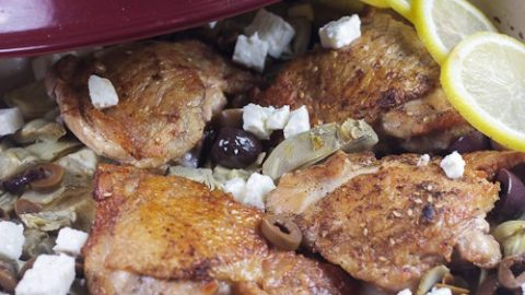 Lemon Braised Chicken Thighs with Artichokes, Olives and Feta