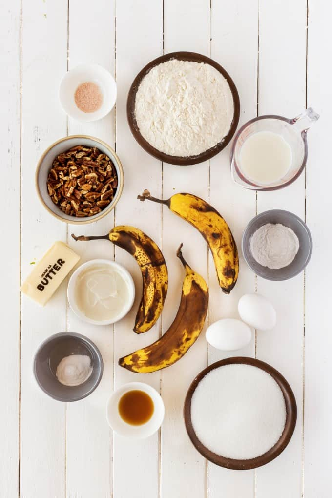 Ingredients for banana bread.