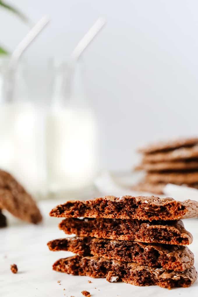 Stacked brownie cookies broken in half