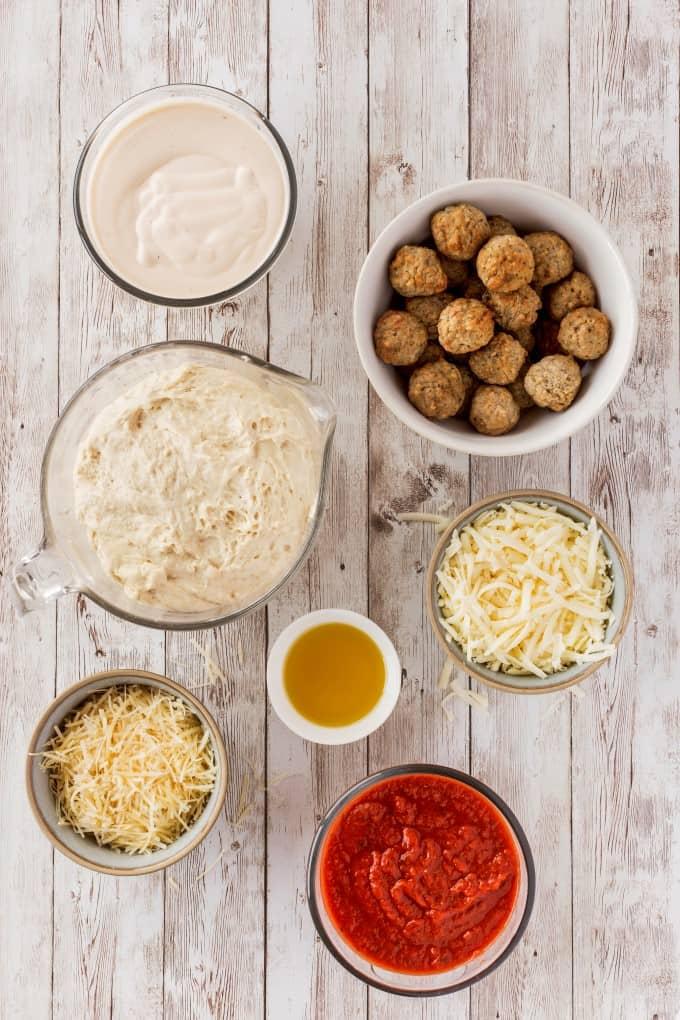 Ingredients for Copycat Olive Garden Pizza Bowls
