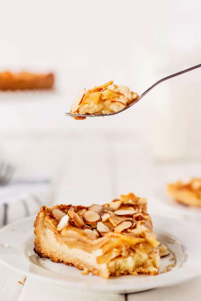 A forkful of Lisa's Apple Torte - Bavarian Apple Torte.