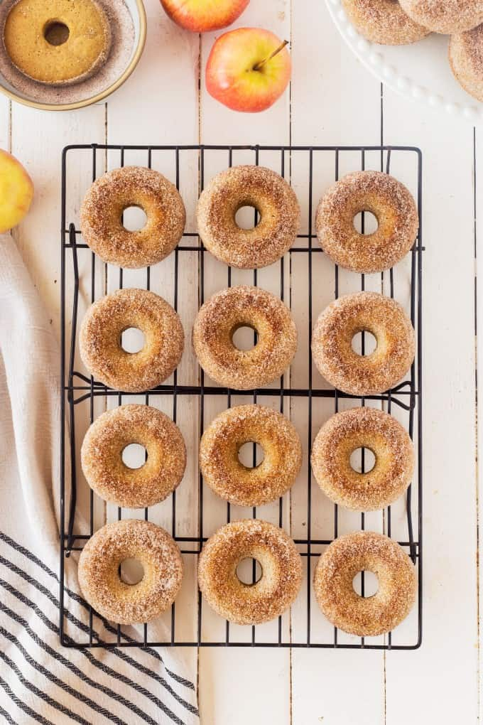 Overhead of donuts on a cooling rack