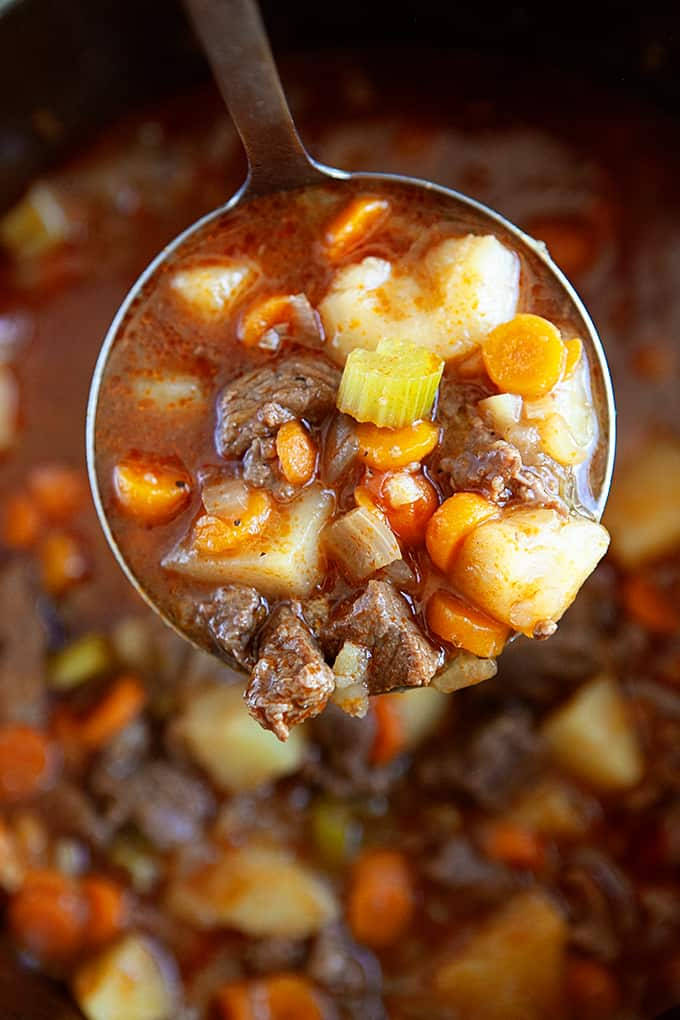 A ladle full of instant pot beef stew