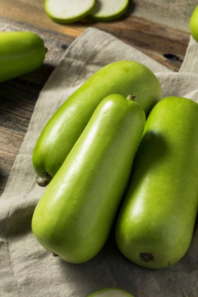 Raw Green Organic Opo Squash Ready to Cook
