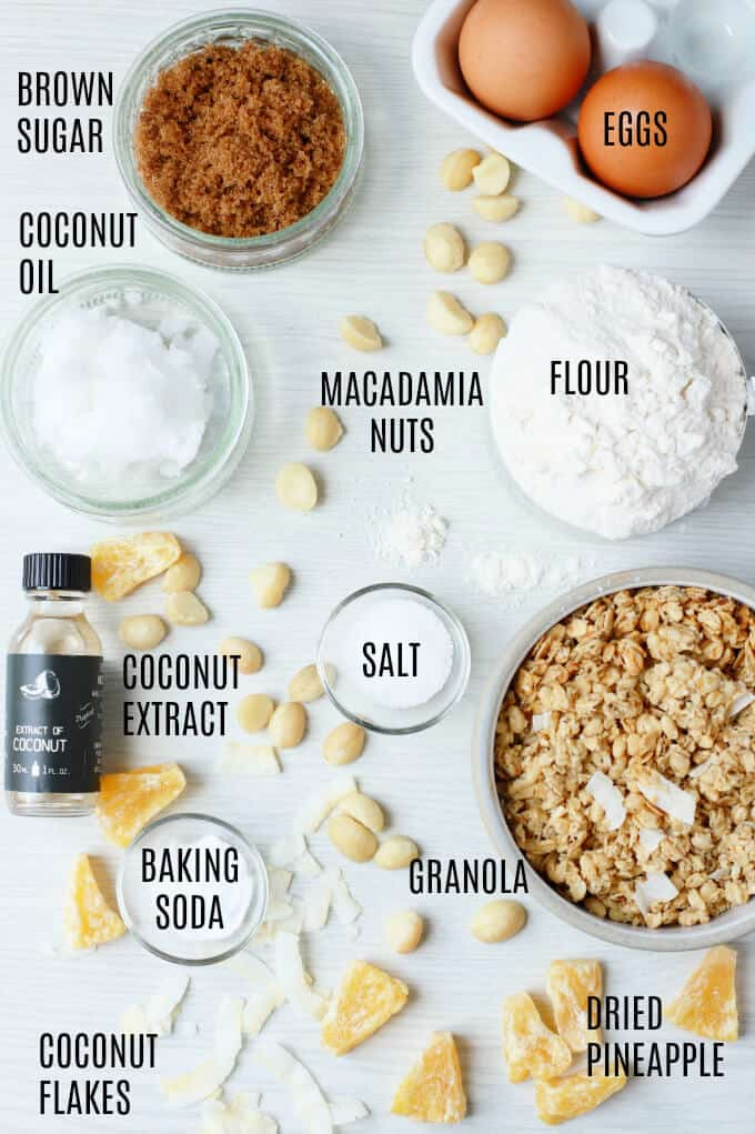 Labelled ingredients photo for Tropical Coconut Chewy Granola Cookies