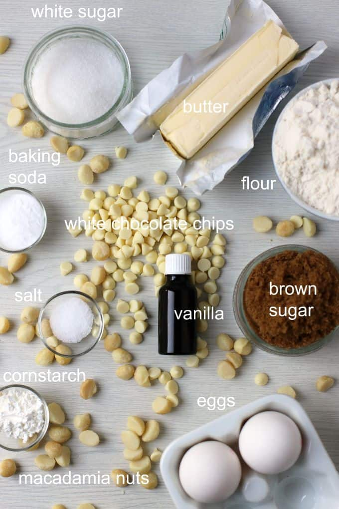 Ingredients used in White Chocolate Macadamia Nut Cookies