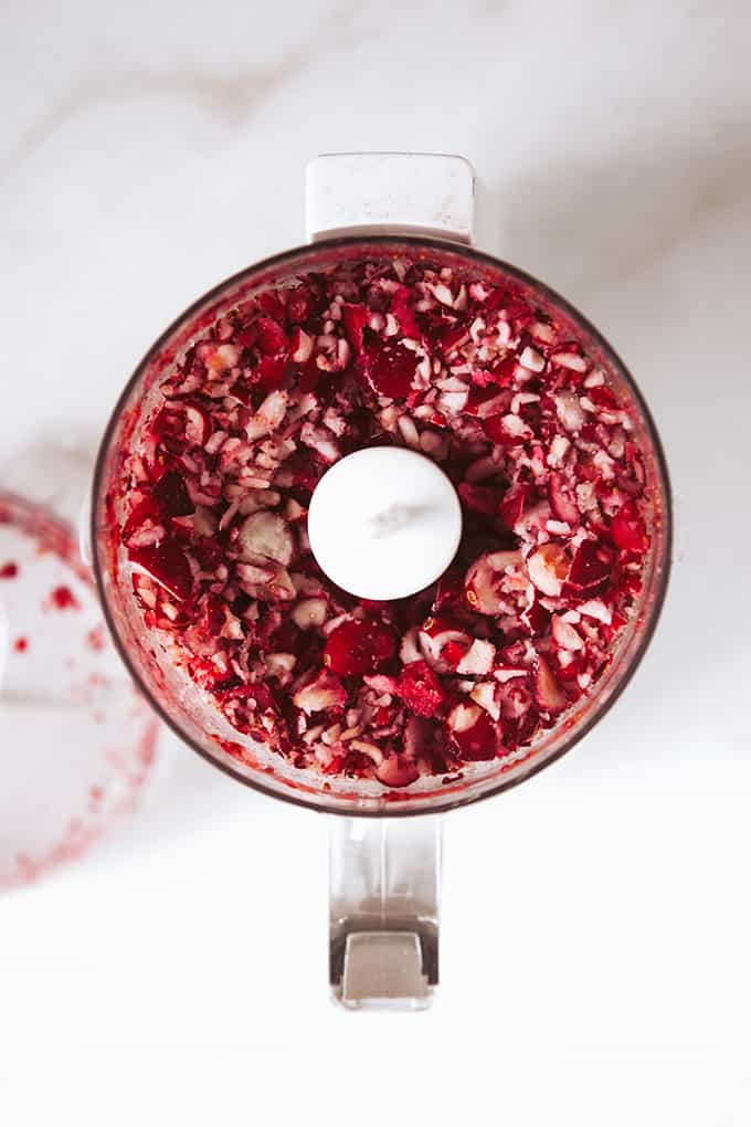 Chopped cranberries for a cranberry cheesecake