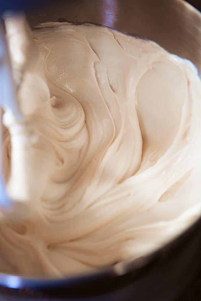 White Chocolate Cheesecake batter being mixed
